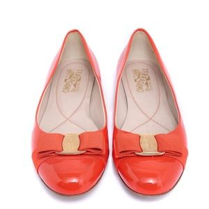 Salvatore Ferragamo Varuna orange bow flats 8.5